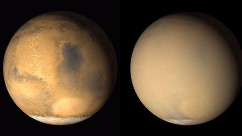 Mars is known to have planet-encircling dust storms. These 2001 images from NASA's Mars Global Surveyor orbiter show a dramatic change in the planet's appearance when haze raised by dust-storm activity in the south became globally distributed.