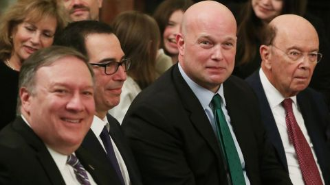 Acting U.S. Attorney General Matthew Whitaker sits during a ceremony in the East Room of the White House in Washington in November 2018. REUTERS/Jonathan Ernst