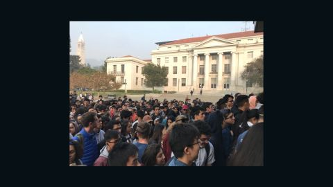 Students at the University of California, Berkeley wait for respirators distributed by a student-led organization Thursday.