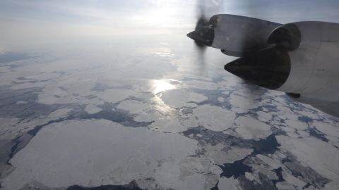 IN FLIGHT, GREENLAND - MARCH 30:  Sea ice is seen from NASA's Operation IceBridge research aircraft off the northwest coast on March 30, 2017 above Greenland. NASA's Operation IceBridge has been studying how polar ice has evolved over the past nine years and is currently flying a set of eight-hour research flights over ice sheets and the Arctic Ocean to monitor Arctic ice loss aboard a retrofitted 1966 Lockheed P-3 aircraft. According to NASA scientists and the National Snow and Ice Data Center (NSIDC), sea ice in the Arctic appears to have reached its lowest maximum wintertime extent ever recorded on March 7. Scientists have said the Arctic has been one of the regions hardest hit by climate change.  (Photo by Mario Tama/Getty Images)