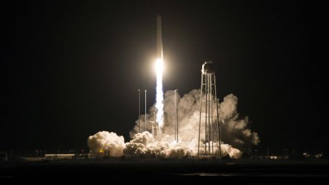 In this photo released by NASA, the Northrop Grumman Antares rocket, with Cygnus resupply spacecraft onboard, launches from Pad-0A, Saturday, Nov. 17, 2018 at NASA's Wallops Flight Facility in Va. (Joel Kowsky/NASA via AP)