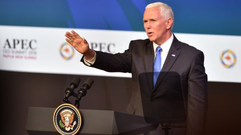 US Vice President Mike Pence waves after delivering his keynote speech at the APEC summit in Port Moresby, Papua New Guinea, on Saturday.