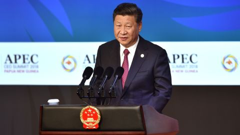 Chinese President Xi Jinping makes his keynote speech for the CEO Summit of the Asia-Pacific Economic Cooperation (APEC) summit in Port Moresby on Saturday.