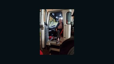 Margaret Newsum, 93, got a ride from a garbage collector, Dane Ray Cummings, to escape the Camp Fire.
