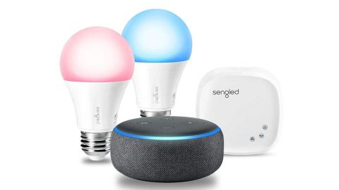 """<strong>Echo Dot (3rd Gen) Charcoal with Sengled Color Smart Lighting Kit ($79.89; </strong><a href=""""https://amzn.to/2RZESJO"""" target=""""_blank"""" target=""""_blank""""><strong>amazon.com</strong></a><strong>) </strong>"""