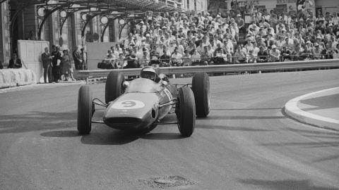 Scottish driver Jim Clark in the Lotus 25 at the 1963 Monaco Grand Prix.