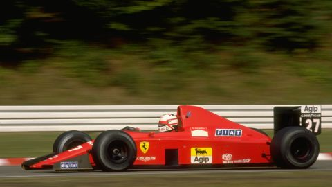 Nigel Mansell in action in his Scuderia Ferrari during the 1989 West German Grand Prix.