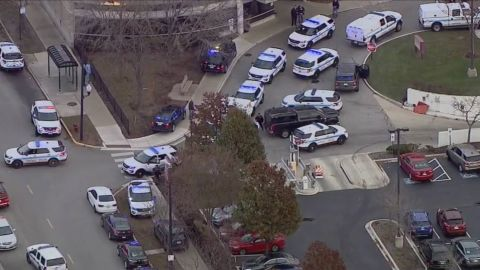 Police say Monday's shooting began in a parking lot at Mercy Hospital in Chicago.