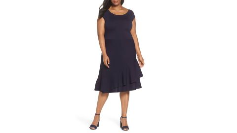 """<strong>Eliza J Double Ruffle Dress ($88.80, $148; </strong><a href=""""https://click.linksynergy.com/deeplink?id=Fr/49/7rhGg&mid=1237&u1=1118nordstrombf&murl=https%3A%2F%2Fshop.nordstrom.com%2Fs%2Feliza-j-double-ruffle-dress-plus-size%2F4960192%3Forigin%3Dcategory-personalizedsort%26breadcrumb%3DHome%252FSale%252FWomen%252FClothing%26color%3Dnavy"""" target=""""_blank"""" target=""""_blank""""><strong>nordstrom.com</strong></a><strong>) </strong><br />"""