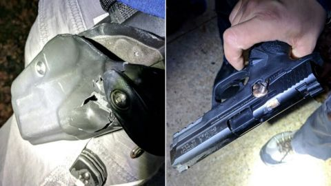 Images show how an officer's holster and gun stopped a bullet during Monday's hospital shooting.