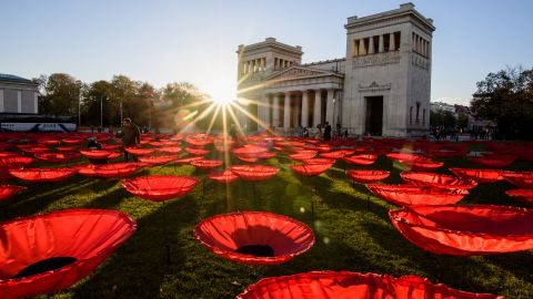"""<strong>Munich, Germany:</strong> """"Never Again,"""" a work by artist Walter Kuhn to mark the 100th anniversary of the end of World War I, fills Munich's Königsplatz."""