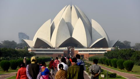 """<strong>New Delhi: </strong>The Lotus Temple, made up of 27 free-standing marble-clad """"petals,"""" is a Bahá'í House of Worship and one of India's most popular sights."""