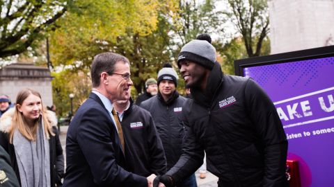 PwC Chairman Tim Ryan greets employees at the CEO Action for Diversity and Inclusion council on November 15.