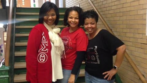 Aisha Fraser, middle, in a photo shared by the Shaker Heights Teachers' Association.