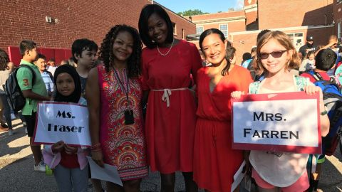 Aisha Fraser, second from left, in a photo shared by the Shaker Heights Teachers' Association.