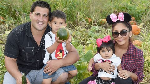 """The family of Jionni LaValle, Lorenzo Lavalle, Giovanna LaValle and Nicole """"Snooki"""" Polizzi, shown here in September 2015 in Long Valley, New Jersey, grew. The """"Jersey Shore"""" star gave birth to baby number three, son Angelo, in May 2019."""