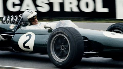 Denny Hulme, Brabham's teammate, racing the BT20 at Brands Hatch.