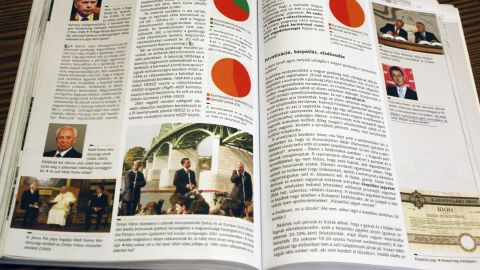 The current history textbook for Year Eight students shows Orban opening a bridge and meeting with the Pope.