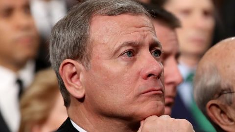 WASHINGTON, DC - JANUARY 30:  U.S. Supreme Court Chief Justice John G. Roberts (L-R),  Associate Justice Stephen G. Breyer, and Associate Justice Elena Kagan listen to President Trump's State of the Union address in the chamber of the U.S. House of Representatives January 30, 2018 in Washington, DC. This is the first State of the Union address given by U.S. President Donald Trump and his second joint-session address to Congress.  (Photo by Win McNamee/Getty Images)