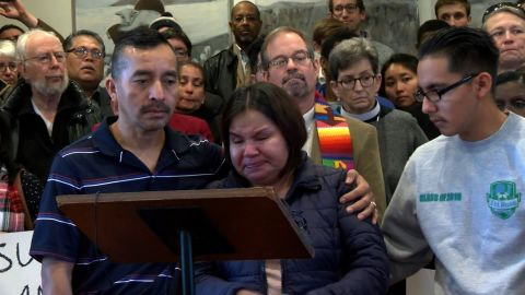 Oliver-Bruno was accompanied by his wife and son when he announced he would leave his home and move to the church.