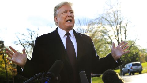 President Donald Trump speaks to the media before leaving the White House in Washington, Tuesday, Nov. 20, 2018, to travel to Florida, where he will spend Thanksgiving at Mar-a-Lago. (AP Photo/Manuel Balce Ceneta)