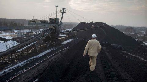 A worker at the Bielszowice coal mine, in Ruda Slaska, Poland,  February 2015.