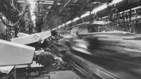 Assembly line workers produce Chevrolet Vegas at the GM plant in Lordstown, Ohio, in 1972.