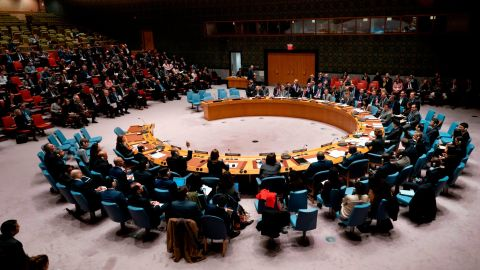 Members of the United Nations Security Council vote during a Security Council meeting on Ukraine, November 26, 2018, at the United Nations in New York.