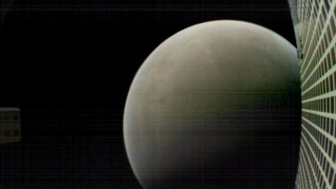 MarCO-B, one of the experimental Mars Cube One (MarCO) CubeSats, took this image of Mars from about 4,700 miles (6,000 kilometers) away during its flyby of the Red Planet on Nov. 26, 2018. MarCO-B was flying by Mars with its twin, MarCO-A, to attempt to serve as communications relays for NASA's InSight spacecraft as it landed on Mars. This image was taken at about 12:10 p.m. PST (3:10 p.m. EST) while MarCO-B was flying away from the planet after InSight landed. The MarCO and InSight projects are managed for NASA's Science Mission Directorate, Washington, by JPL, a division of the California Institute of Technology, Pasadena.