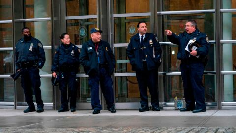 """Police patrol during the start of jury selection for the """"El Chapo"""" trial at Brooklyn Federal Court in New York."""