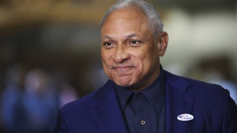 In this November 27, 2018, file photo, Democratic candidate for US Senate Mike Espy speaks to reporters after voting in Ridgeland, Mississippi. He was in a close race with appointed Republican Sen. Cindy Hyde-Smith.