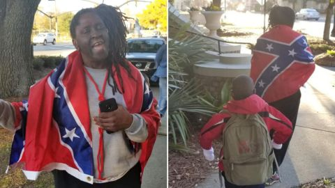 Phil Carlos Wilson took this photo of Claudia Bivins wearing the flag.