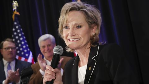 JACKSON, MS - NOVEMBER 27: U.S. Senator Cindy Hyde-Smith (R-MS) speaks during an election night event at The Westin Hotel, November 27, 2018 in Jackson, Mississippi. Hyde-Smith defeated Democratic candidate Mike Espy in Tuesday's U.S. Senate special runoff election in Mississippi. (Photo by Drew Angerer/Getty Images)