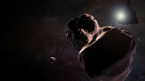 """Artist's impression of NASA's New Horizons spacecraft encountering 2014 MU69, a Kuiper Belt object that orbits one billion miles (1.6 billion kilometers) beyond Pluto. The object nicknamed """"Ultima Thule"""" will be the most primitive and most distant world ever explored by spacecraft. It has orbited undisturbed since the birth of the solar system 4.5 billion years ago."""