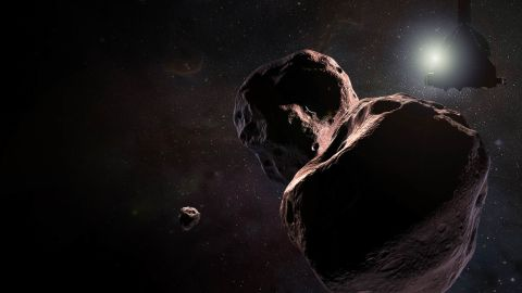 """Artist's impression of NASA's New Horizons spacecraft encountering 2014 MU69, a Kuiper Belt object that orbits one billion miles (1.6 billion kilometers) beyond Pluto, on Jan. 1, 2019. With public input, the team has selected the nickname """"Ultima Thule"""" for the object, which will be the most primitive and most distant world ever explored by spacecraft."""