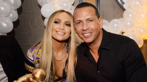 Jennifer Lopez and Alex Rodriguez attend Jennifer Lopez's MTV VMA's Vanguard Award Celebration at Beauty & Essex on August 21, 2018, in New York City.