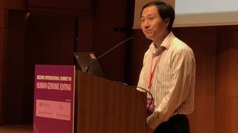 He Jiankui presents his findings from a controversial study into genetically-editing human embryos at the Second International Summit on Human Genome Editing in Hong Kong on November 28, 2018.