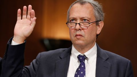 In this Sept. 20, 2017, file photo, Thomas Farr is sworn in during a Senate Judiciary Committee. (AP Photo/Alex Brandon, File)
