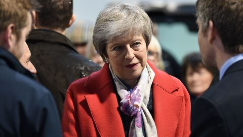 Britain's Prime Minister Theresa May (C) meets with agricultural producers and business representatives as she tours the Royal Welsh Winter Fair at the Royal Welsh Showground in Builth Wells, Powys, in Mid Wales, on November 27, 2018. - Britain's Prime Minister Theresa May launched a nationwide tour to whip up support on November 27 for the Brexit deal that has divided Britain. (Photo by Paul ELLIS / various sources / AFP)        (Photo credit should read PAUL ELLIS/AFP/Getty Images)