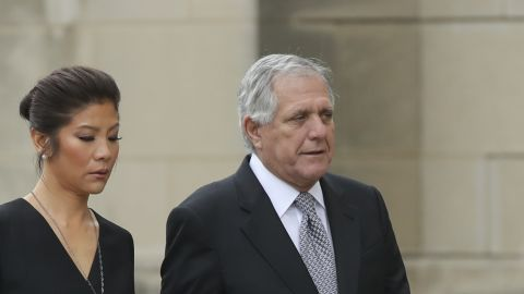 WASHINGTON, DC - SEPTEMBER 1: (L-R) Julie Chen and Les Moonves, chief executive officer of CBS Corporation, arrive at the Washington National Cathedral for the funeral service for the late Senator John McCain, September 1, 2018 in Washington, DC. Former presidents Barack Obama and George W. Bush are set to deliver eulogies for McCain in front of the 2,500 invited guests. McCain will be buried on Sunday at the U.S. Naval Academy Cemetery. (Photo by Drew Angerer/Getty Images)