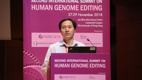 Chinese scientist He Jiankui claims he helped create the world's first genetically-edited babies while presenting his findings at the Second International Summit on Human Genome Editing in Hong Kong on November 28, 2018.