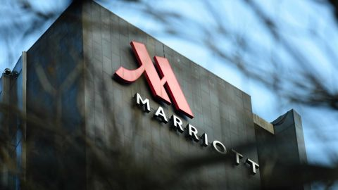 This photo taken on January 11, 2018 shows a Marriott logo in Hangzhou in China's Zhejiang province.Authorities in China have shut down Marriott's local website for a week after the US hotel giant mistakenly listed Chinese-claimed regions such as Tibet and Hong Kong as separate countries. / AFP PHOTO / - / China OUT        (Photo credit should read -/AFP/Getty Images)