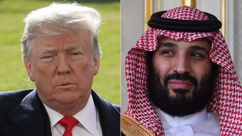 LEFT: WASHINGTON, DC - NOVEMBER 29: U.S. President Donald Trump waves while finishing answering questions from the press while departing the White House November 29, 2018 in Washington, DC. Trump answered numerous questions regarding his former attorney Michael Cohen's recent court appearance and testimony before departing. (Photo by Win McNamee/Getty Images)  RIGHT: Saudi Arabia's Crown Prince Mohammed bin Salman is pictured while meeting with the Tunisian President at the presidential palace in Carthage on the eastern outskirts of the capital Tunis on November 27, 2018. (Photo by FETHI BELAID / AFP)        (Photo credit should read FETHI BELAID/AFP/Getty Images)