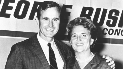 Bush is pictured with his wife, Barbara, during his first campaign for Congress. He represented Texas' 7th District from 1967 to 1971, and he was appointed to the powerful tax-writing Ways and Means Committee.