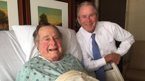 """Bush was admitted to a hospital in April 2017 for an acute respiratory problem stemming from pneumonia. This photo of him and his son George was posted to Twitter. """"Big morale boost from a high level delegation. No father has ever been more blessed, or prouder,"""" the elder Bush wrote about the photo."""
