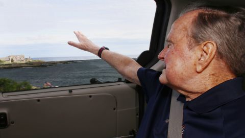 """Bush is seen in the car after a stay in the hospital. His son Jeb tweeted the photo in May 2018, saying, """"My beloved dad is in Maine."""" Bush had been admitted to the hospital after contracting an infection that spread to his blood, a family spokesman said."""