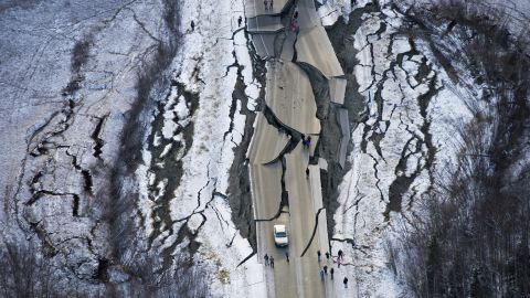 This aerial photo shows damage south of Wasilla, Alaska, after earthquakes Friday.