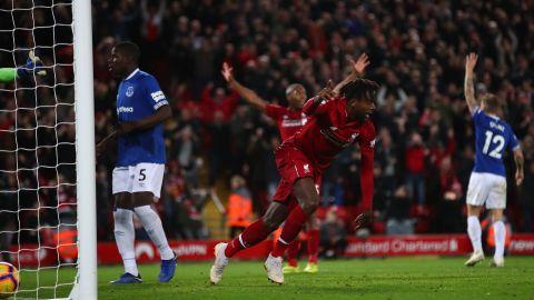 Liverpool's Divock Origi celebrates after scoring his team's only goal.