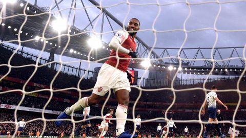Alexandre Lacazette of Arsenal celebrates during the Premier League match with Tottenham Hotspur at Emirates Stadium.