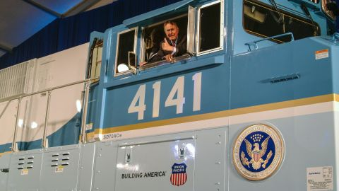 President George H.W. Bush in the cab of the Bush 4141 locomotive at its unveiling in 2005.